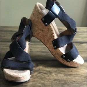 ⭐️ LUCKY BLACk CORK WEDGE SANDALS⭐️